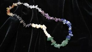 Chakra Crystal Gemstone Chip Necklace Balancing Meditation Mindful Necklace