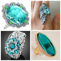 Gorgeous Women 925 Silver Blue Topaz Flower Ring Jewelry Wedding Rings Size 6-10