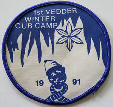 """1st VEDDER WOLF CUBS WINTER CUB CAMP 1991 Badge Patch 4-1/4"""""""