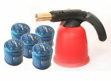Lötlampe Lötbrenner Bunsenbrenner mit Piezo inkl. 5 Gaskartuschen 190g