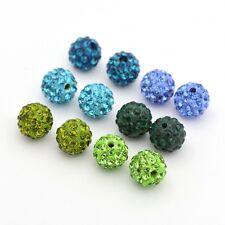 2 sets pave boule disco strass perles ronde pâte polymère mixte couleur 10mm craft
