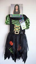 Girls Halloween Witch Dress Costume Child Long Wig Self-Adhesive Moles M 8-10 w9