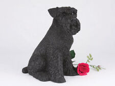 Large 123 Cubic Inches Black Schnauzer Resin Urn for Cremation Ashes, Ears Down