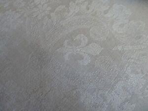 grande nappe ancienne fin XIXème lin damassé fleurs de Lys mono double R.H