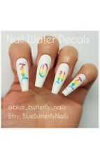 1141 - ABC+extra Old English Font Letters Uppercase Rainbow Nail Water Decals