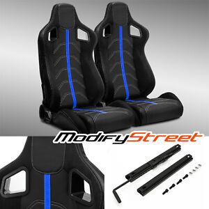 2 x BLACK PVC LEATHER/BLUE STRIP/WHITE STITCH LEFT/RIGHT RACING BUCKET SEATS