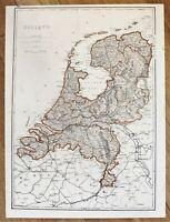 1875 Holland Map Amsterdam Zuider Zee Belgium Railroad Routes ORIGINAL