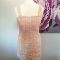 Kookai Womens Pink Check Wool Blend Dress Sleeveless Size 1 UK 6/8 Pencil