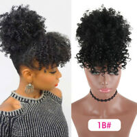 High Puff Drawstring Afro Kinky Curly Synthetic Ponytail w/ Bangs Hair Extension