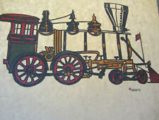 Steam Engine Train vintage 70s iron on t shirt transfer full size