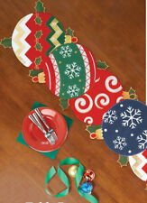 Charming, Unique Embroidered CHRISTMAS ORNAMENT TABLE RUNNER, NEW!