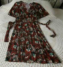 Floral dress by NINE WEST Size 10 Brown multi Silky jersey feel with stretch