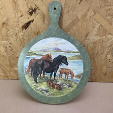 Round Handled Cheese Serving Chopping Board / Trivett - Wild Horses, Francis Fry