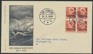 GREENLAND. FDC 1959 February 23. 30+10 Øre red Charity, block of 4 (PK1288)