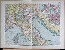 1920 MAP -POST WW1- ITALY NORTH,CORSICA, INSETS OF TRIESTE,GENOA,FLORENCE