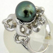 925 Silver Green Pearl Octopus Rings Wedding Engagement Charms Jewelry Size 6-10