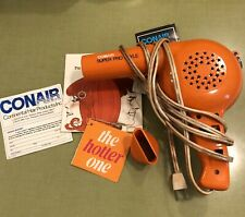 Vintage 70's Conair RARE Orange Hair Blow Dryer 1050 Watt with attachment Works