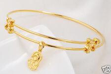 Polished 24k Yellow Gold GF Womens Adjustable Bangle Bracelet Jewelry
