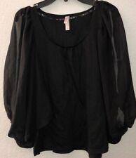 Juniors Xhilaration Black Blouse with Long Sheer Batwing Slit Sleeve - Size S