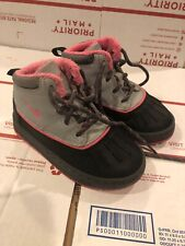 Nike ACG Hightop Boots Girls Size 9c Pink Grey Black Leather ~ hard to find