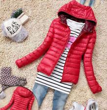 Red Women's Slim Hooded Coat zipper Trench Jacket Parka Outwear Overcoat (M)00