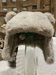 Baby Gap Factory NWT Taupe Faux Fur Bear Trapper Winter Hat 12-18 Months