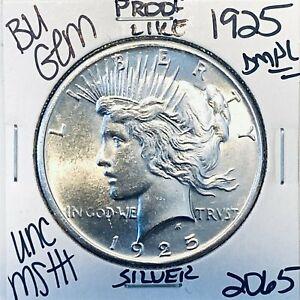 1925 P BU GEM PEACE SILVER DOLLAR UNC MS+ GENUINE U.S. MINT RARE COIN 2065