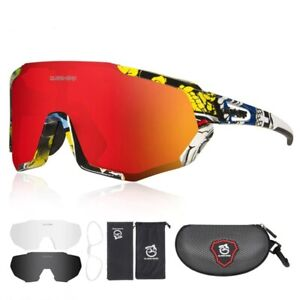 QUESHARK Polarized Cycling Glasses Bike Sunglasses 3 Lens Cycling Goggles Unisex