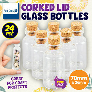24PK Corked Lid Glass Bottles Decoration Craft Wedding Projects 70 x 26mm
