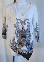 Womans Alberto Makali Sequined Top Blouse Shirt White Black Pullover Size Large
