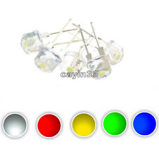10PCS White Red Green Blue Yellow 8MM Straw Hat 0.5W LED Light Emitting Diode UK