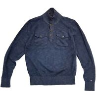 Tommy Hilfiger Pullover Dark Blue Grey Mock Neck Cotton Sweater Size Medium Mens