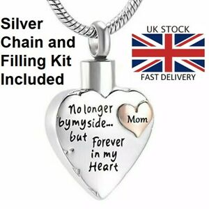 Mom Mother Keepsake Heart Cremation Urn Pendant Ashes Necklace Funeral Memorial