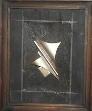 1995 ABSTRACT METAL ARTWORK COLLAGE WALL DECOR PLAQUE SIGNED