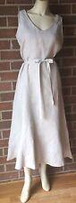Talbots Pure Irish Linen Belted Waist Mid-Calf Fit & Flare Dress Natural/Tan 10