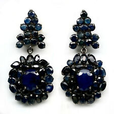 NEW DESIGN! NATURAL BLUE SAPPHIRE 925 STERLING SILVER EARRINGS