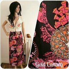 Vintage 60s 70s Black Pink Floral Psychedelic Hippy Folk Maxi Skirt 10 38