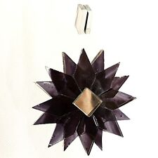BLACK DARK HANGING GLASS MANDALA STAR SUNCATCHER MOBILE MIRRORED RECYCLED
