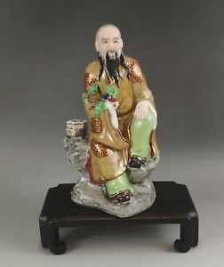 A beautiful Chinese 20C famille rose statue-Jingdezhen artist's collective