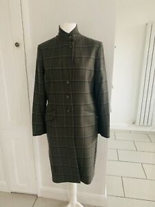 Musto Long Check Wool With Angora Coat Size 16 Country