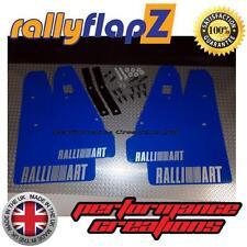 Mud Flaps & Fixings to fit MITSUBISHI LANCER RALLIART SPORTBACK Blue Logo Silver
