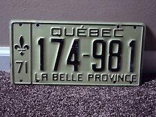 1971 QUEBEC La Belle Province CANADA License Plate 174 981
