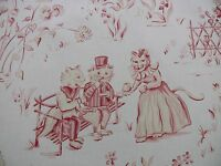 SCALAMANDRE LIFE ON TOP OF CRANBERRY HILL PINK RED ANIMAL CAT FROG PIG TOILE YD