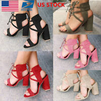 US Women Ankle Strap Open Toe Sandals High Block Chunky Heels Party Shoes Size