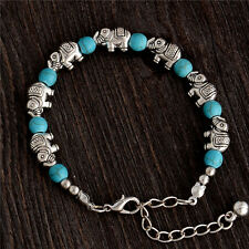 Woman Adjustable Bohemian Vintage Jewelry Lucky Elephant Turquoise Bracelet Gift
