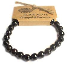 Black Agate Natural 8mm GEMSTONE Elasticated Bracelet Chakra Healing Stones