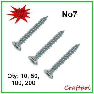 """No7 Wood Screws - Pozi Countersunk Twin thread. 7x3/4"""", 7x1"""", 7x1 1/4"""", 7x1 1/2"""