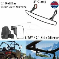 """Rear View Mirror Set Utv Side View 1.75"""" - 2"""" Clamp Roll Cage For Polaris Ranger"""
