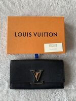 Authentic LOUIS VUITTON Capucines Long Wallet Gold Logo Leather With Box Black