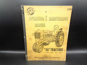 "VINTAGE Minneapolis Moline Operation & Maintenance Manual ""ZA"" TRACTORS S-144"
